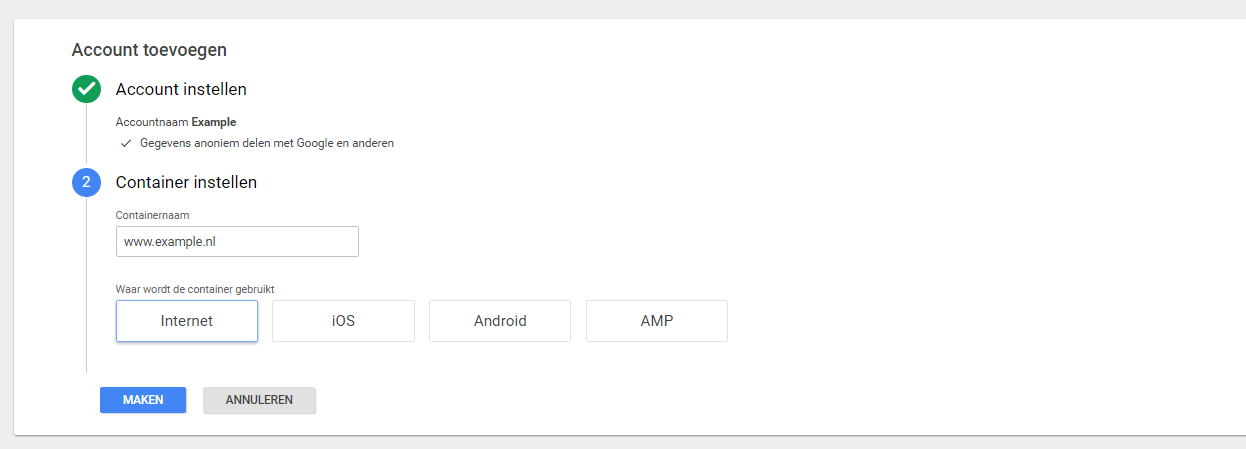 Screenshot van Google Tag Manager configuratie