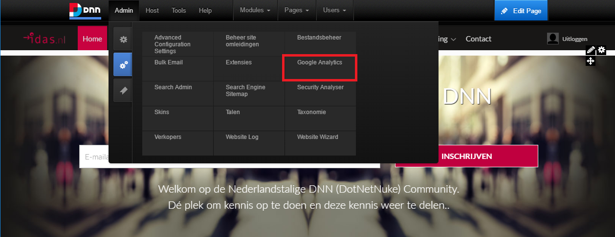 Screenshot van Google Analytics module in DNN