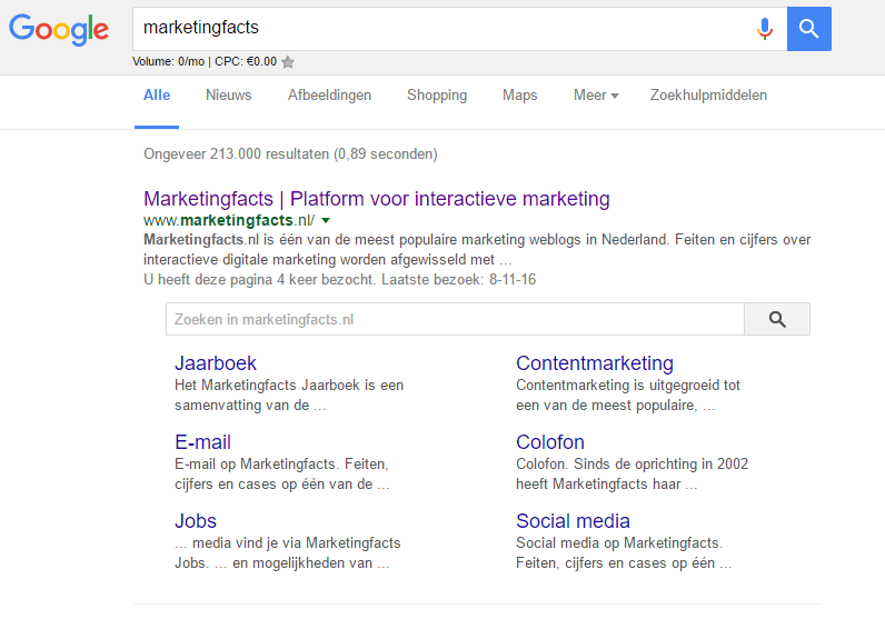 Voorbeeld van Rich Snippets van Marketingfacts