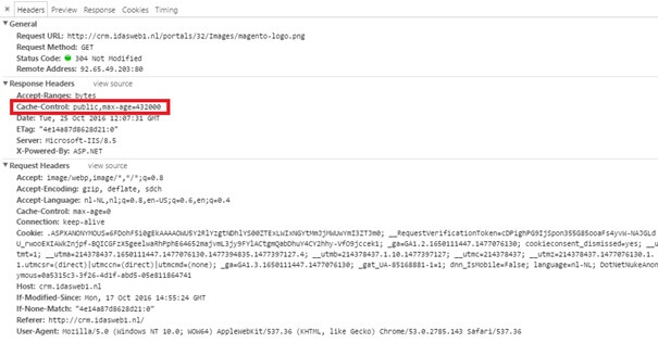 Screenshot van browser caching in de Developer Tools van Chrome
