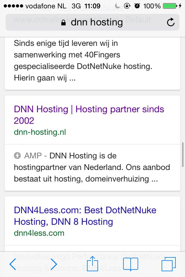 Screenshot of DNN Hosting in the Google Search Results